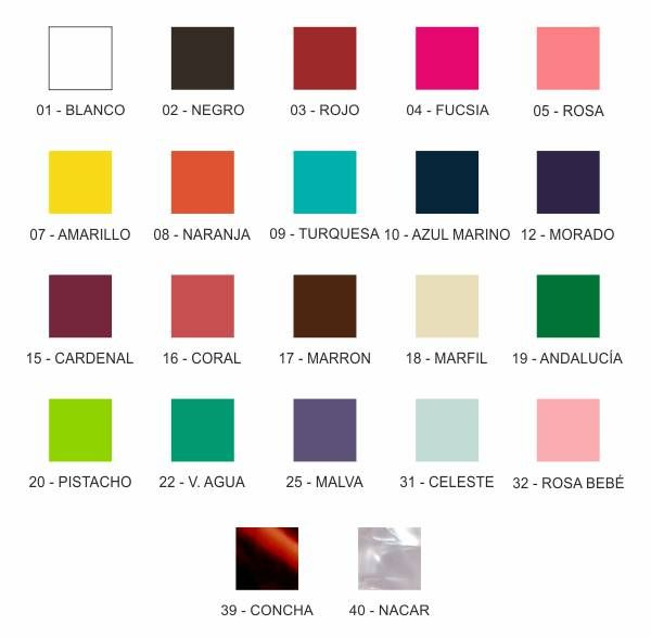 Carta de color polietileno